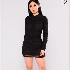 Fashion Nova Ruched Black Dress